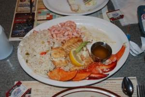 homard, petoncles, crevettes, cabillaud